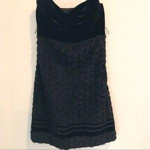 BETSEY JOHNSON Black Velvet Top Strapless Dress